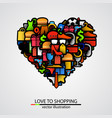 creative heart sign made shopping items vector image