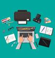 designer workplace desktop with tools vector image vector image