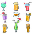 doodle set drink colorful various vector image vector image