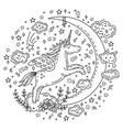 doodle unicorn moon vector image vector image