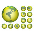 dotted digital earth globes sets vector image vector image