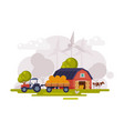 farm scene with red barn wind turbine and tractor vector image vector image