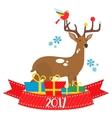 flat deer 2017 vector image vector image