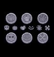 game stone coin set cartoon coins vector image vector image