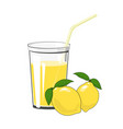 glass with lemon juice vector image