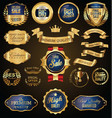 gold and blue retro sale badges and labels vector image vector image