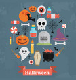 halloween concept flat icons arrange in the vector image