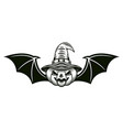 halloween pumpkin in witch hat with wings vector image