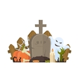 Halloween with grave ghost and vector image vector image