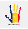 Handprint with the Flag of Chad in grunge style vector image