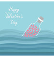 Happy Valentines Day Love card Bottle with hearts vector image vector image