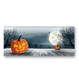 holiday halloween banner with pumpkins and moon vector image vector image