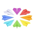 Isometric colored paper planes vector image