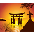 Lake with Torii Gate vector image