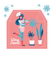lettering stay home young woman with pan in hands vector image