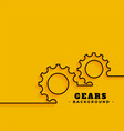 line gears symbols on yellow background vector image vector image