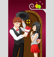 man giving flowers to his girlfriend on a vector image