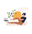 man training at home watching online classes vector image vector image