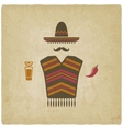 Mexican man with tequila and chili pepper vector image vector image