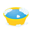 plastic basin with soap suds vector image vector image