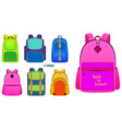realistic school backpack in different color vector image vector image