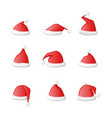 santa claus hat set icon isolated on a white vector image