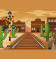 scene with train track in western town vector image vector image