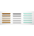 set isolated 3d book shelf or shelves vector image
