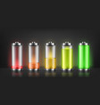 set of battery charge indicators vector image vector image