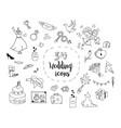 set of cartoon wedding theme icons vector image