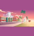 street in miami with hotels and sand beach vector image vector image
