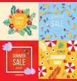 summer sale poster set with tropical flowers vector image vector image