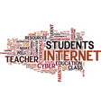 the cyber teacher text background word cloud vector image vector image