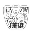 thirty years jubilee black and white invitation vector image vector image