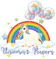 unicorn with balloon on sky vector image