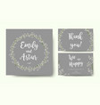 wedding floral gray invite card with tiny flowers vector image