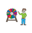 wheel of fortune and woman vector image vector image