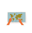 woman hands with world map for travel planning vector image