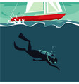 scuba diver jumping underwater from boat vector image