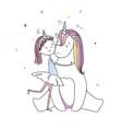 a cute girl hugs a unicorn hand drawn vector image vector image