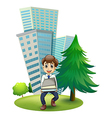 A hardworking man outside the building vector image vector image