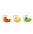 apple mandarin and banana juices vector image