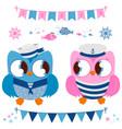 basailor owls marine nautical set vector image