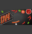 bbq grill hot dog realistic banner tasty vector image vector image