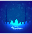 blue merry christmas tree and snowflakes vector image vector image
