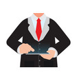 business man holding a digital tablet vector image