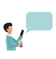 business man holding smartphone with speech bubble vector image vector image