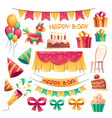 cartoon decoration for birthday party vector image