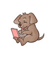 cartoon dog lying behind laptop vector image vector image