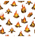 cartoon fire wood and campfire seamless pattern vector image vector image